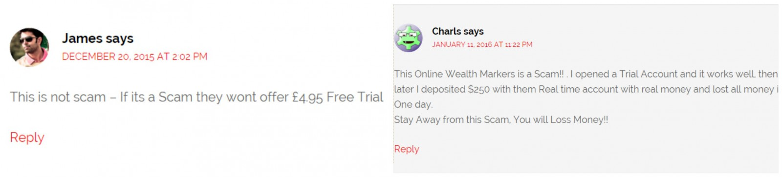 is online wealth markets a scam