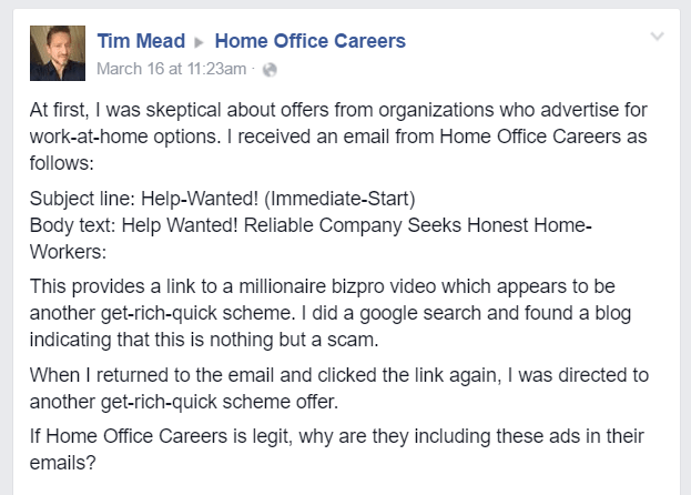 is home office careers a scam