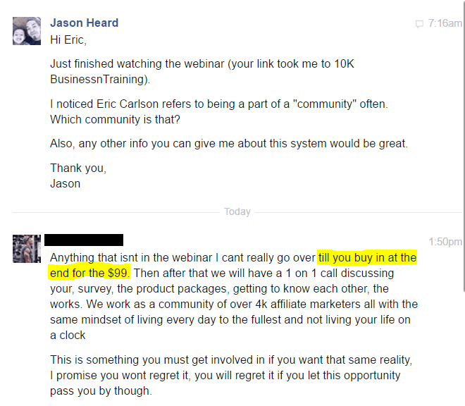 is 10k business training a scam