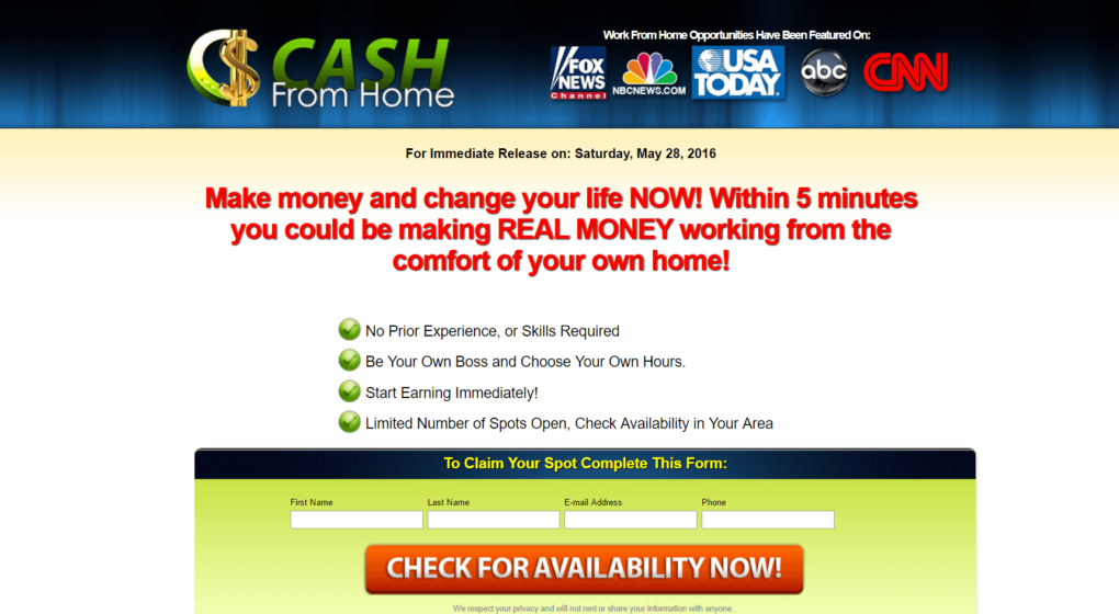is cash from home a scam