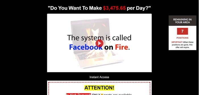 is facebook on fire a scam