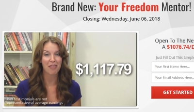 woman claiming to have made over one thousand using your freedom mentor system