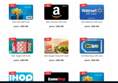 gift cards listed from rewards buck